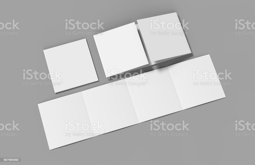 Open gate fold brochure, 4 panel and eight pages leaflet. blank white 3d render illustration stock photo