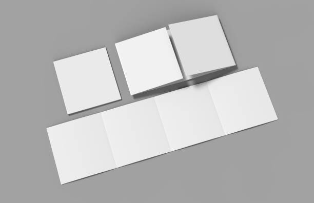 open gate fold brochure, 4 panel and eight pages leaflet. blank white 3d render illustration - folded stock pictures, royalty-free photos & images