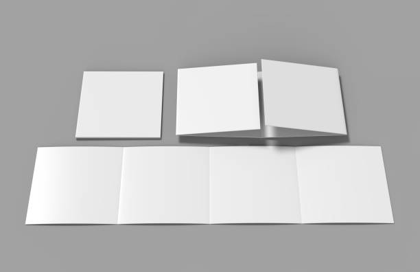 Open gate fold brochure, 4 panel and eight pages leaflet. blank white 3d render illustration Open gate fold brochure, 4 panel and eight pages leaflet. number 4 stock pictures, royalty-free photos & images