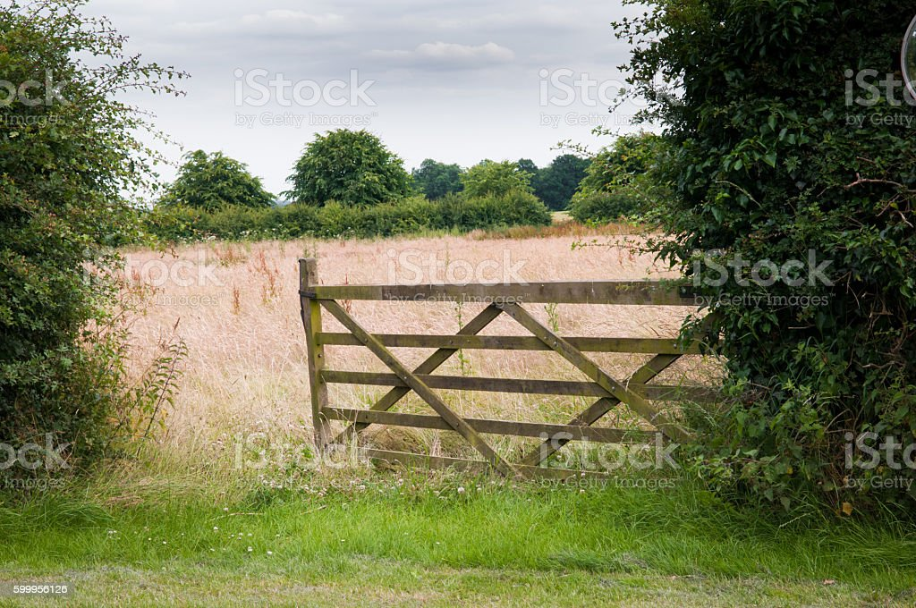 Open gate to a field on a farm stock photo