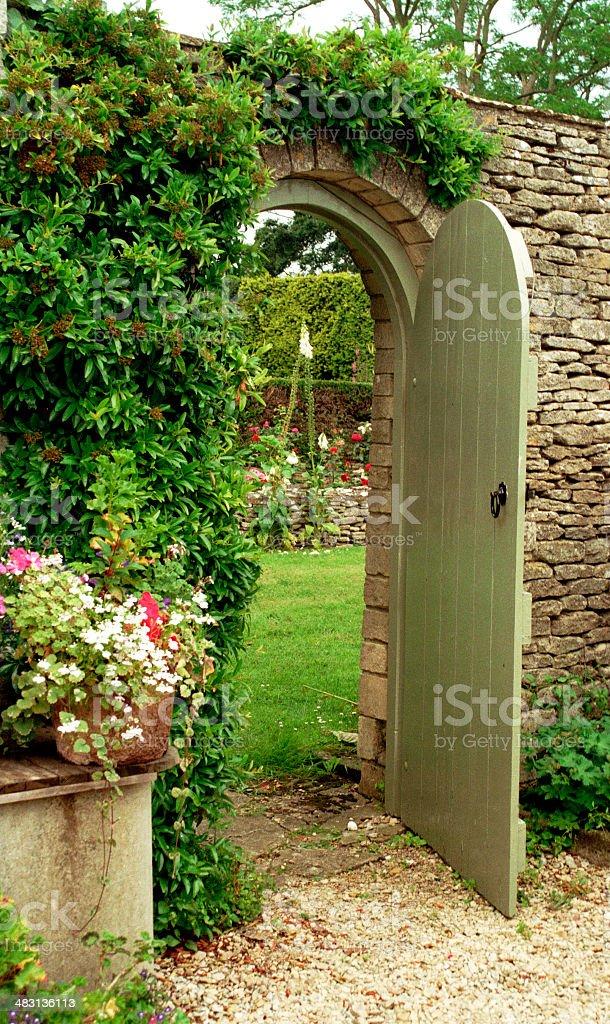 Open gate to garden stock photo