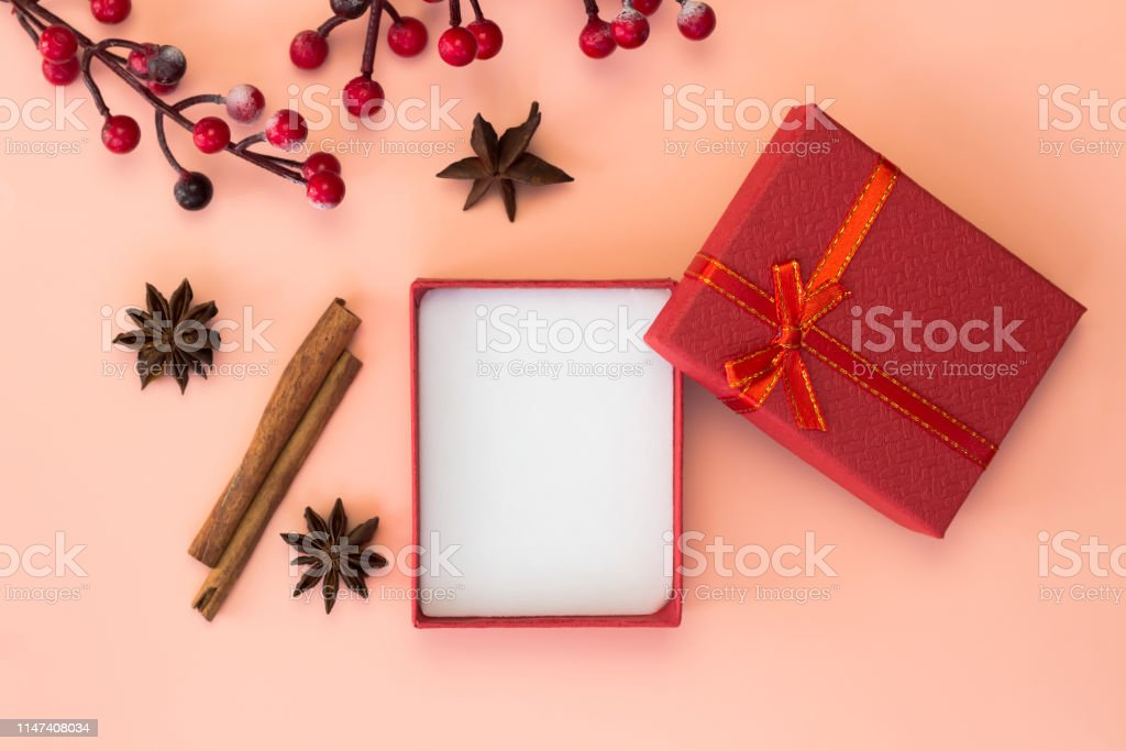 Empty red gift box, copy space.