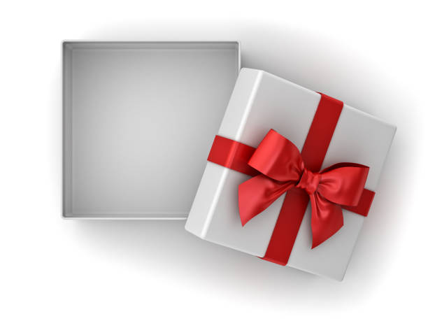 Open gift box , Christmas present box with red ribbon bow and blank space in the box isolated on white background with shadow Open gift box , Christmas present box with red ribbon bow and blank space in the box isolated on white background with shadow . 3D rendering. gift box stock pictures, royalty-free photos & images