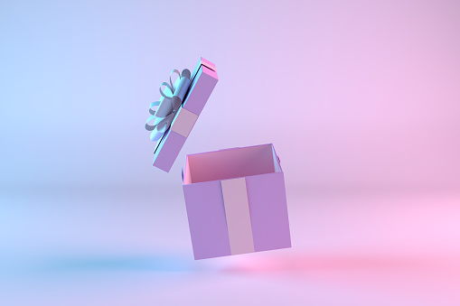 3d rendering of Open Gift Box. Minimal Christmas, Party concept. Open gift box. Color Gradient background. Neon Lighting.
