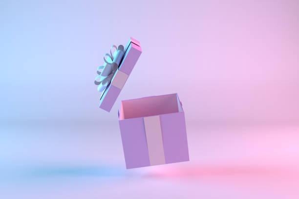 otwórz pudełko prezentowe, minimalistyczny projekt 3d na tle gradientu kolorów - gift zdjęcia i obrazy z banku zdjęć