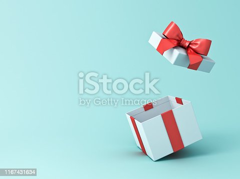Open gift box or present box with red ribbon and bow isolated on green blue pastel color background with shadow 3D rendering