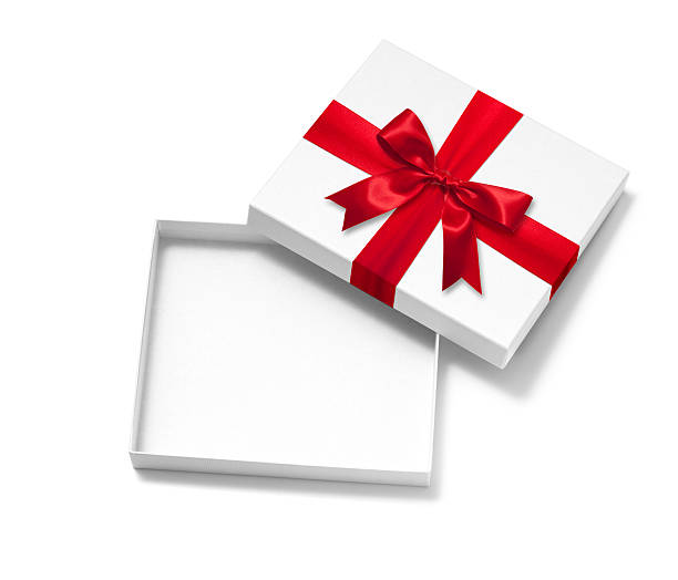 Open Gift Box Open Gift Box with Red Satin Ribbon Bow. gift box stock pictures, royalty-free photos & images
