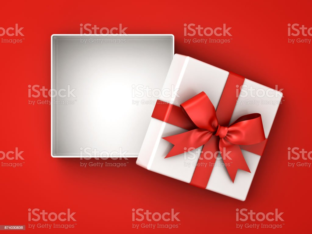 Open gift box , present box with red ribbon bow and blank space in the box isolated on red background with shadow stock photo
