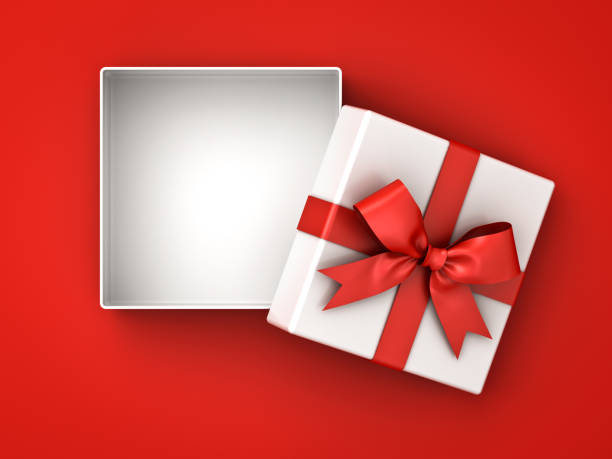 Open gift box , present box with red ribbon bow and blank space in the box isolated on red background with shadow Open gift box , present box with red ribbon bow and blank space in the box isolated on red background with shadow . 3D rendering. gift box stock pictures, royalty-free photos & images
