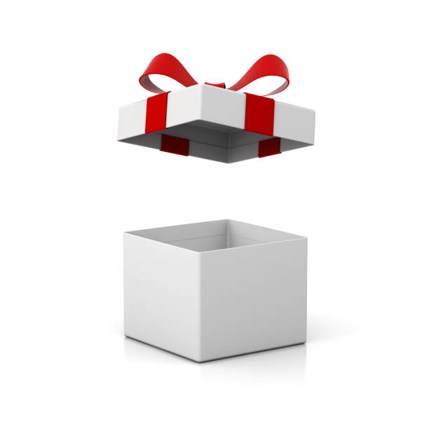 open gift box present box with red ribbon bow isolated on white background with shadow and reflection  3d rendering - gift box imagens e fotografias de stock