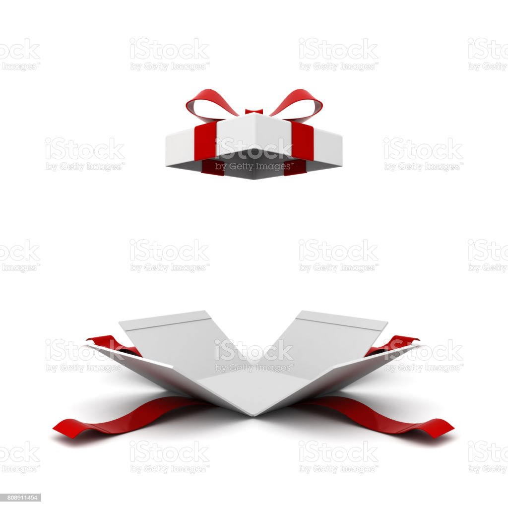 Open gift box , present box with red ribbon bow isolated on white background with shadow . 3D rendering stock photo