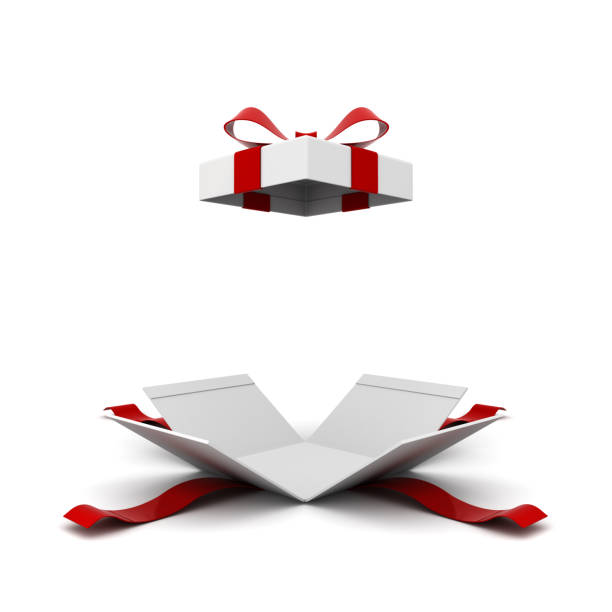 Open gift box , present box with red ribbon bow isolated on white background with shadow . 3D rendering Open gift box , present box with red ribbon bow isolated on white background with shadow . 3D rendering. gift box stock pictures, royalty-free photos & images