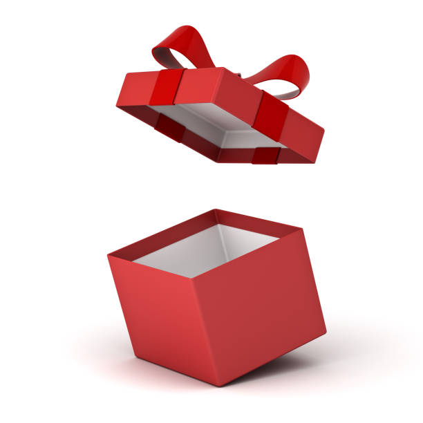 Open gift box , Red present box with red ribbon bow isolated on white background with shadow . 3D rendering Open gift box , Red present box with red ribbon bow isolated on white background with shadow . 3D rendering. gift box stock pictures, royalty-free photos & images