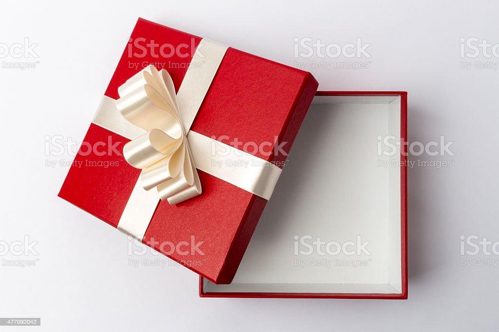 Abrir caixa de presente-Vista de cima - foto de acervo
