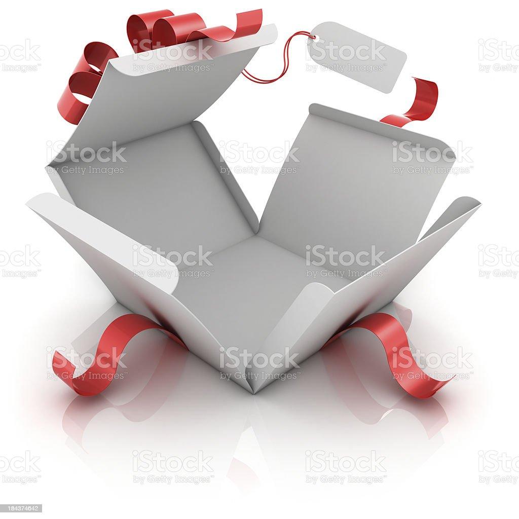 Offenen Geschenkbox mit leeren label – Foto