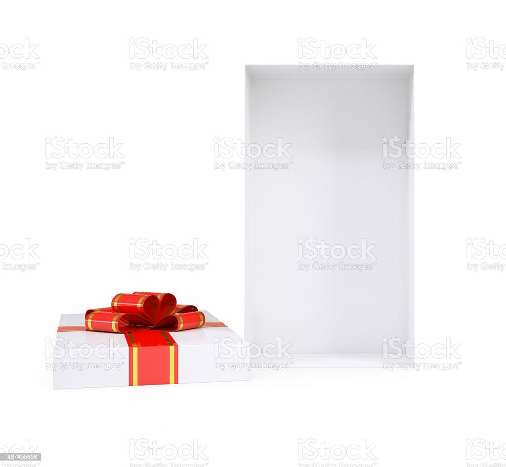 Open gift box with ribbon on white stock photo