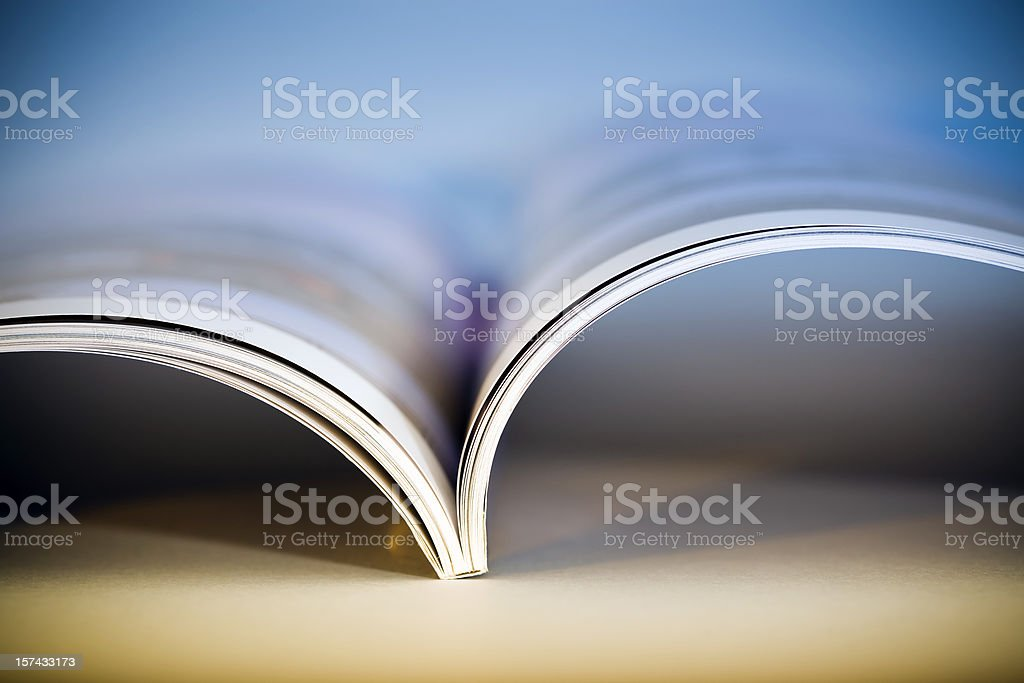 Open glossy magazine stock photo