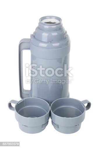 467147506 istock photo Open gray plastic thermos with cups 537352079