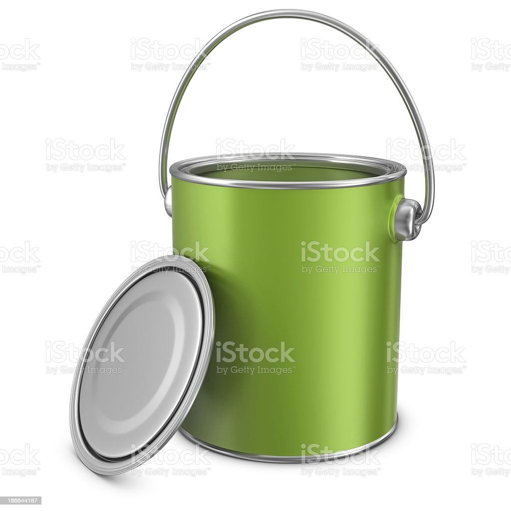 open green paint can royalty-free stock photo