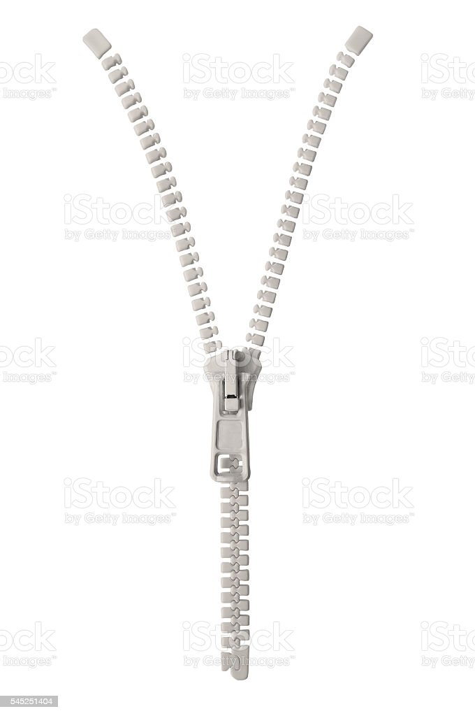 Open grey beige zipper pull concept unzip metaphor, isolated closeup stock photo