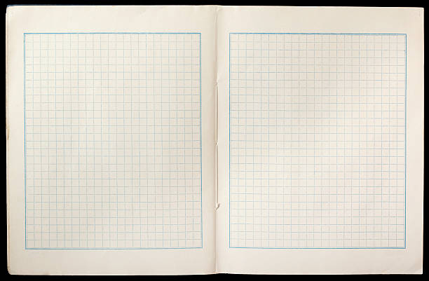 open grid paper book stock photo