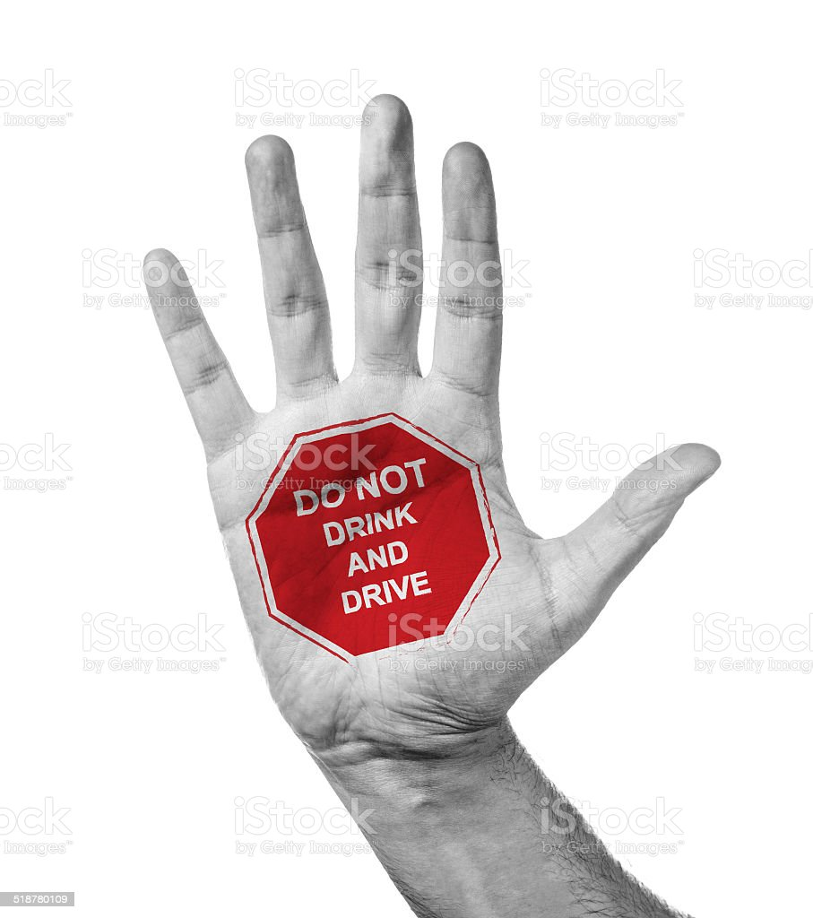 Open Hand Gesturing Don't Drink And Drive stock photo