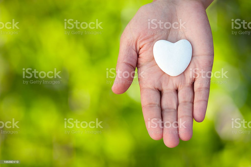 Open hand holding a heart on defocused green background. stock photo