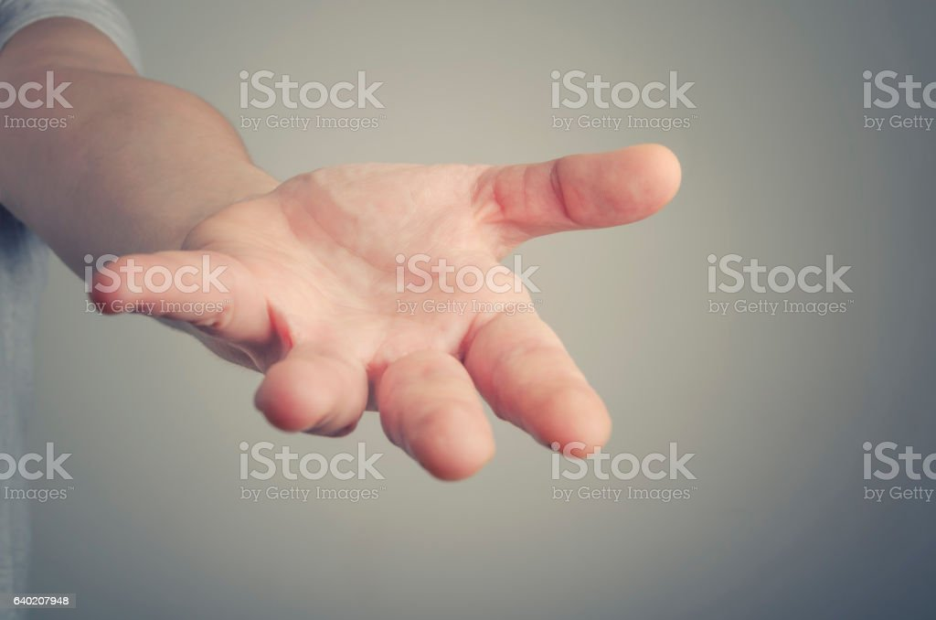Open hand. Holding, giving, showing concept. stock photo