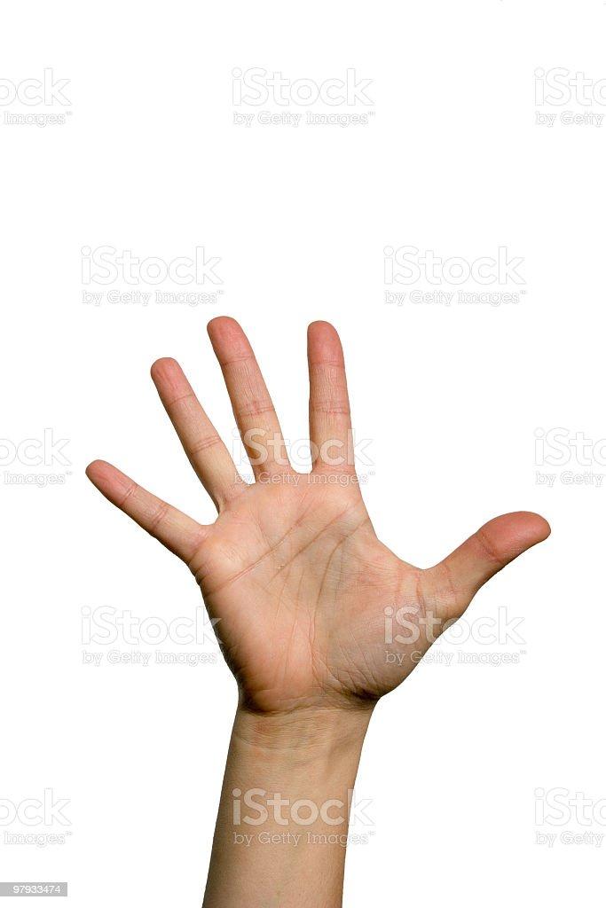 Open hand, palm facing forward, reaching toward the sky royalty-free stock photo