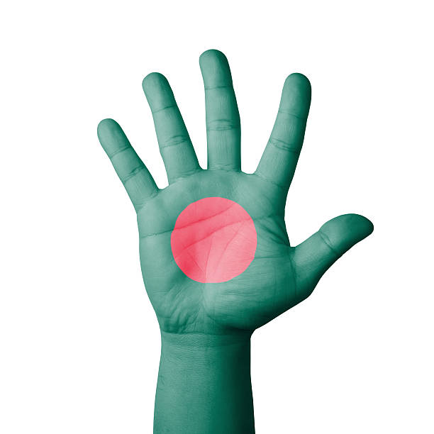 Open hand raised, Bangladesh flag painted stock photo