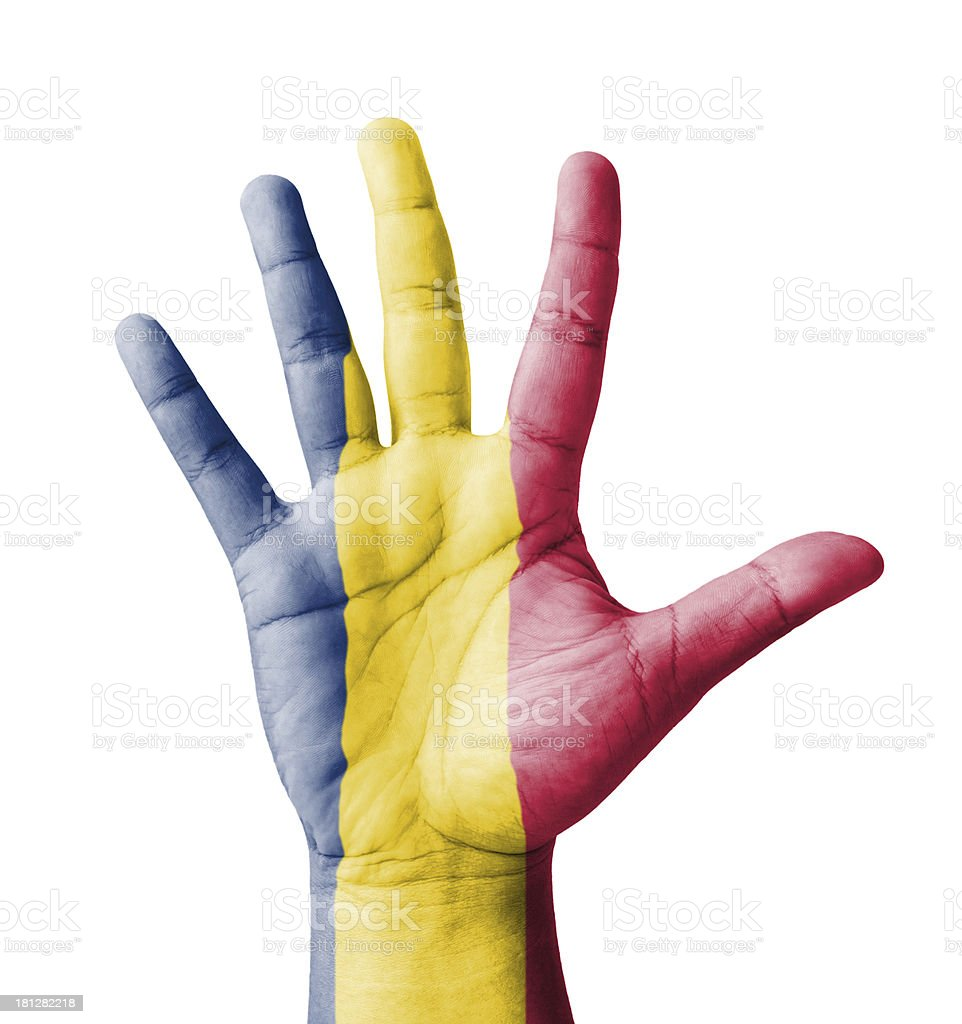 Open hand raised, multi purpose concept, Chad flag painted royalty-free stock photo