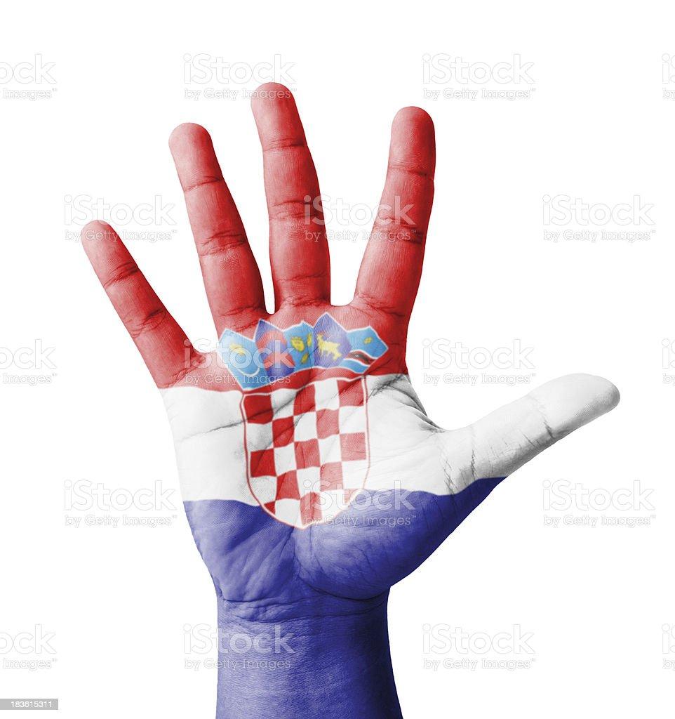 Open hand raised, multi purpose concept, Croatia flag painted royalty-free stock photo