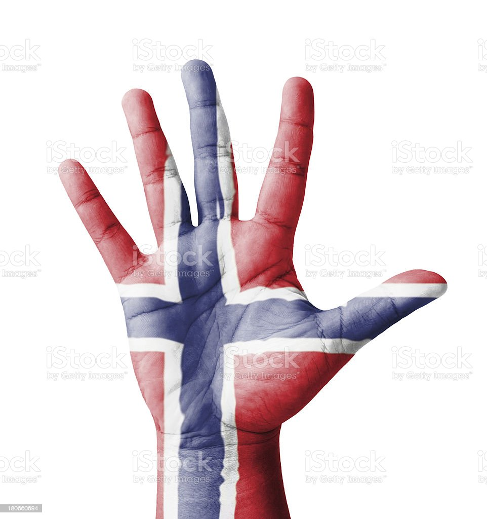 Open hand raised, multi purpose concept, Norway flag painted stock photo