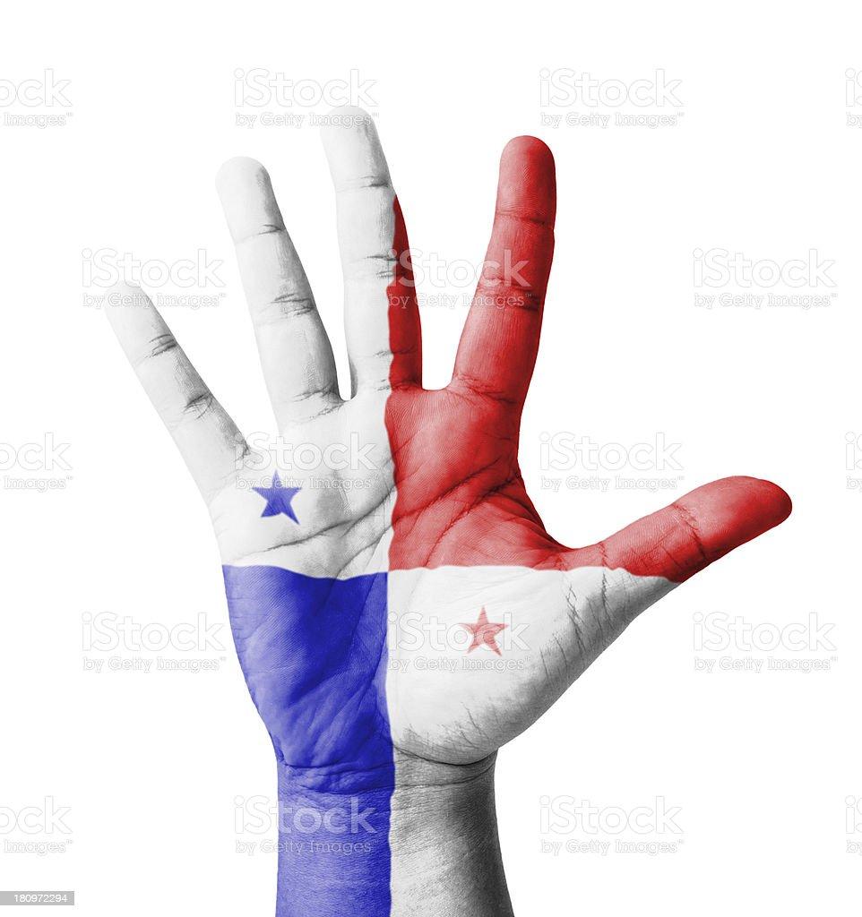ABRA MÃO levantada, multiuso conceito, Panamá bandeira pintado - foto de acervo
