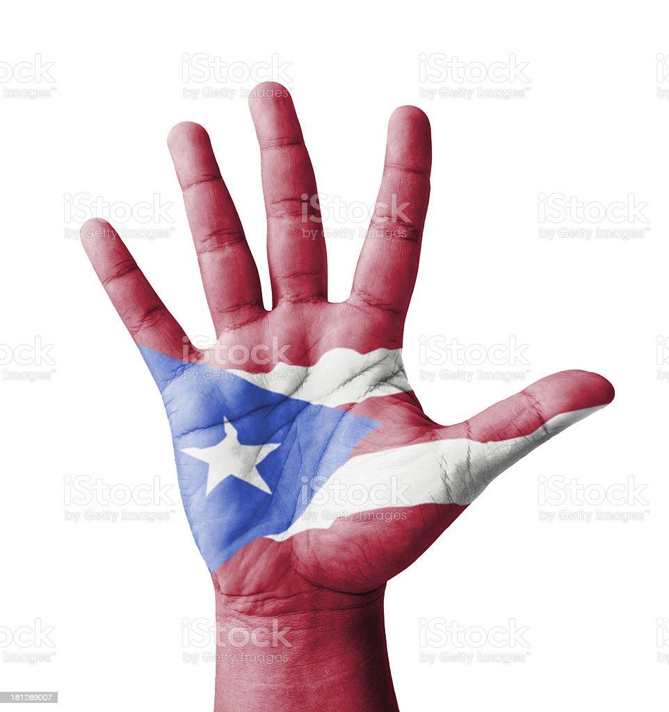 Alzar la mano abierta, multiusos concepto de Puerto Rico, bandera pintado - foto de stock
