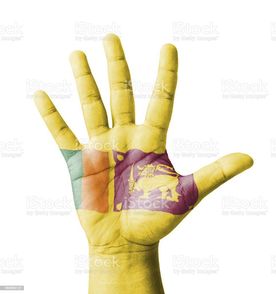 Open hand raised, multi purpose concept, Sri Lanka flag painted royalty-free stock photo