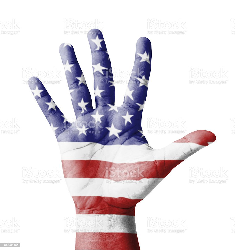 Open hand raised, multi purpose concept, USA flag painted royalty-free stock photo