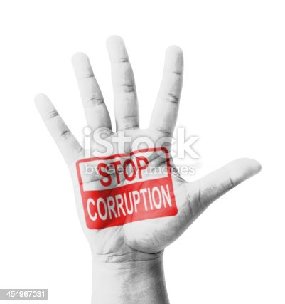Open hand raised, Stop Corruption sign painted, multi purpose concept - isolated on white background