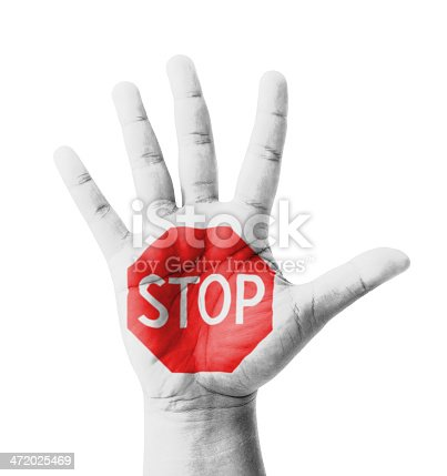 Open hand raised, STOP sign painted, multi purpose concept - isolated on white background