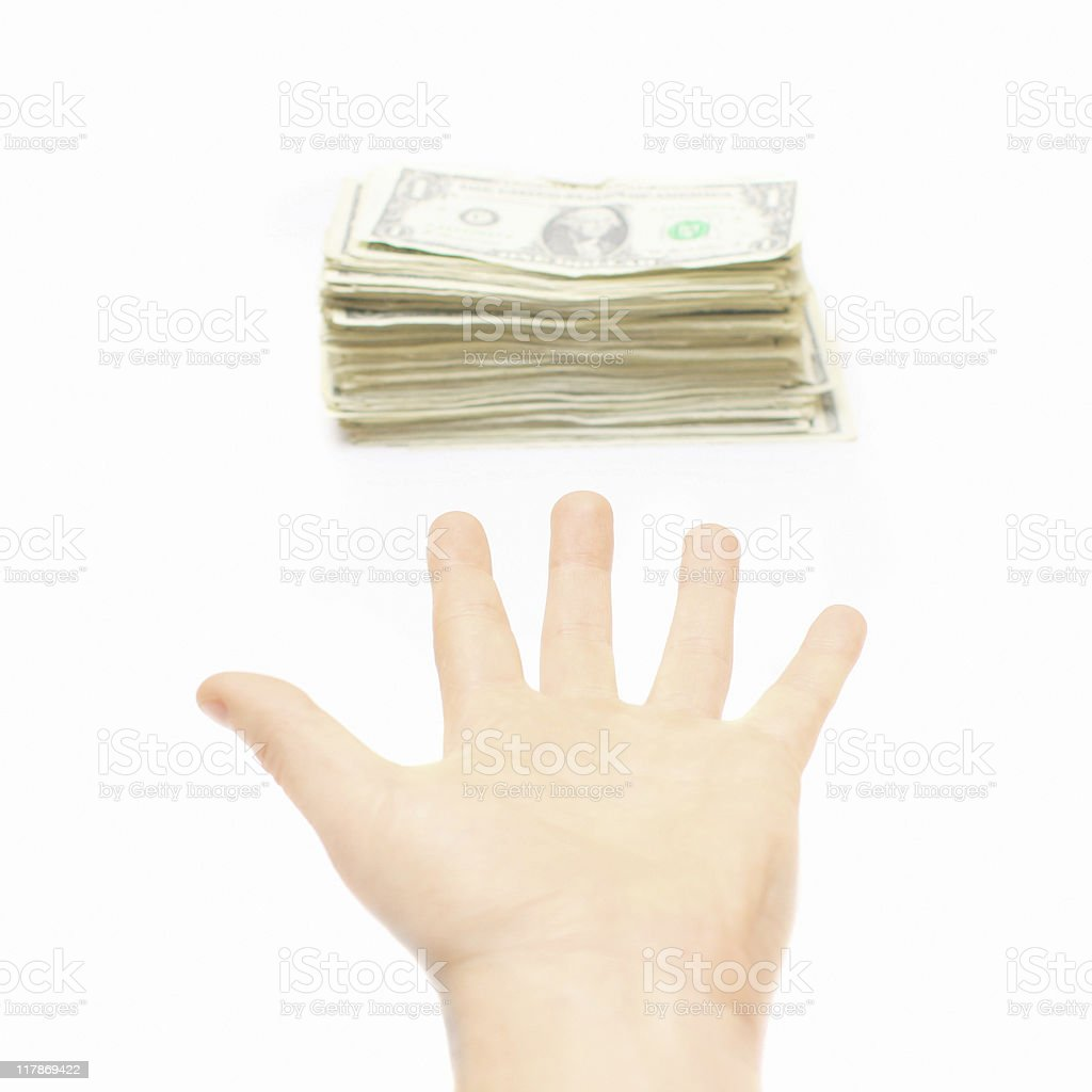 Open Hand Reaching for Money - White Background stock photo