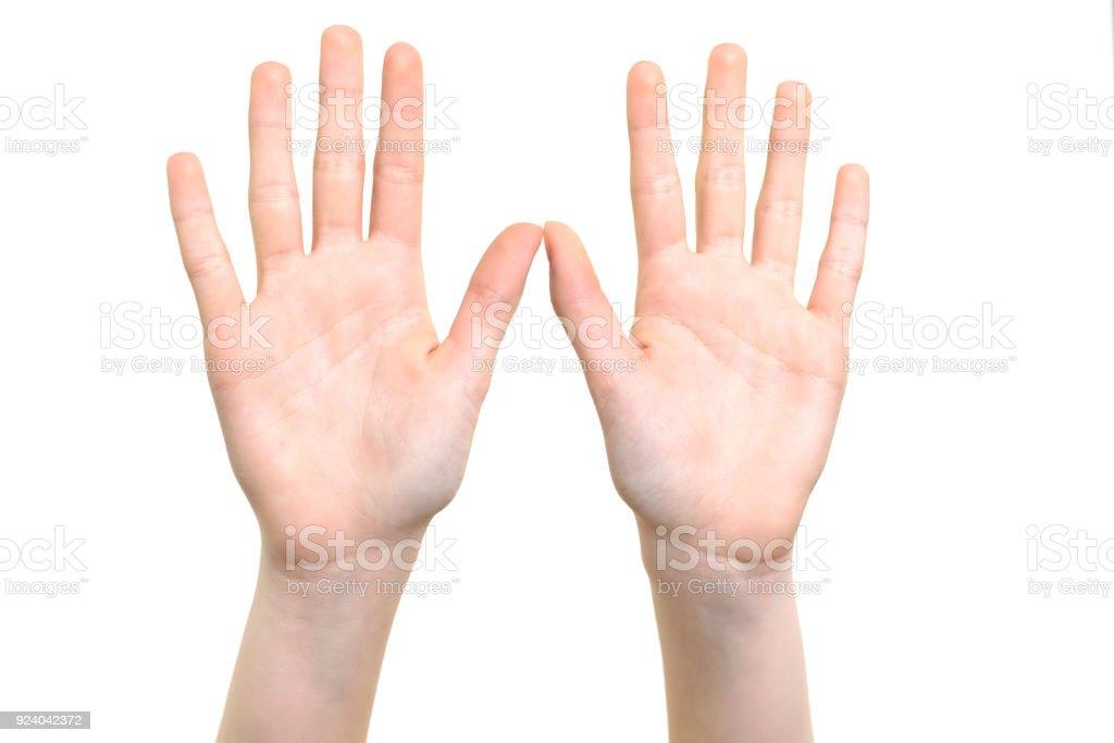 Open hands symbol stock photo