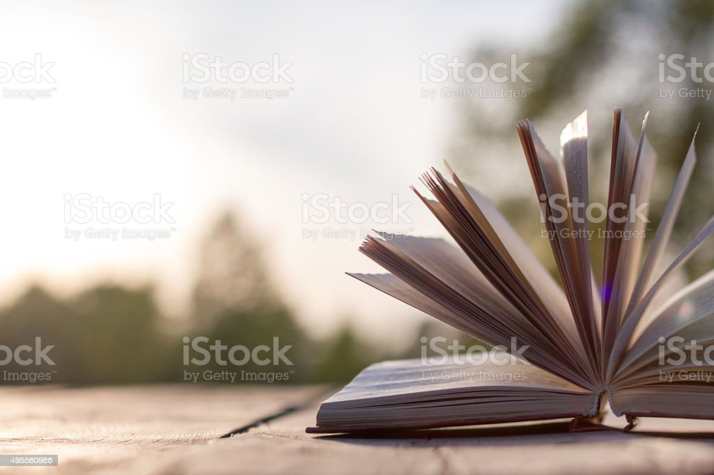Open hardback book, Back to school. Copy Space. Education background stock photo