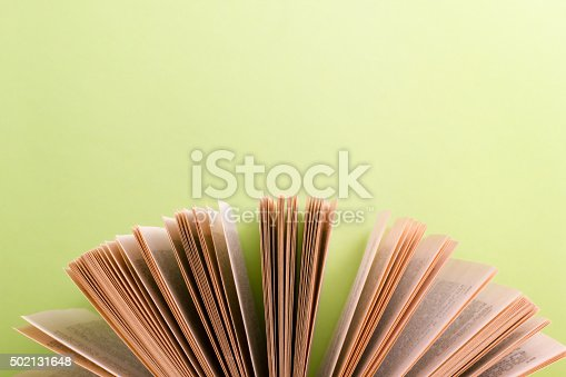 480762174istockphoto Open hardback book on wooden table and green background 502131648