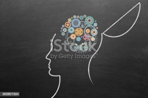 istock Open head with gears 505801504