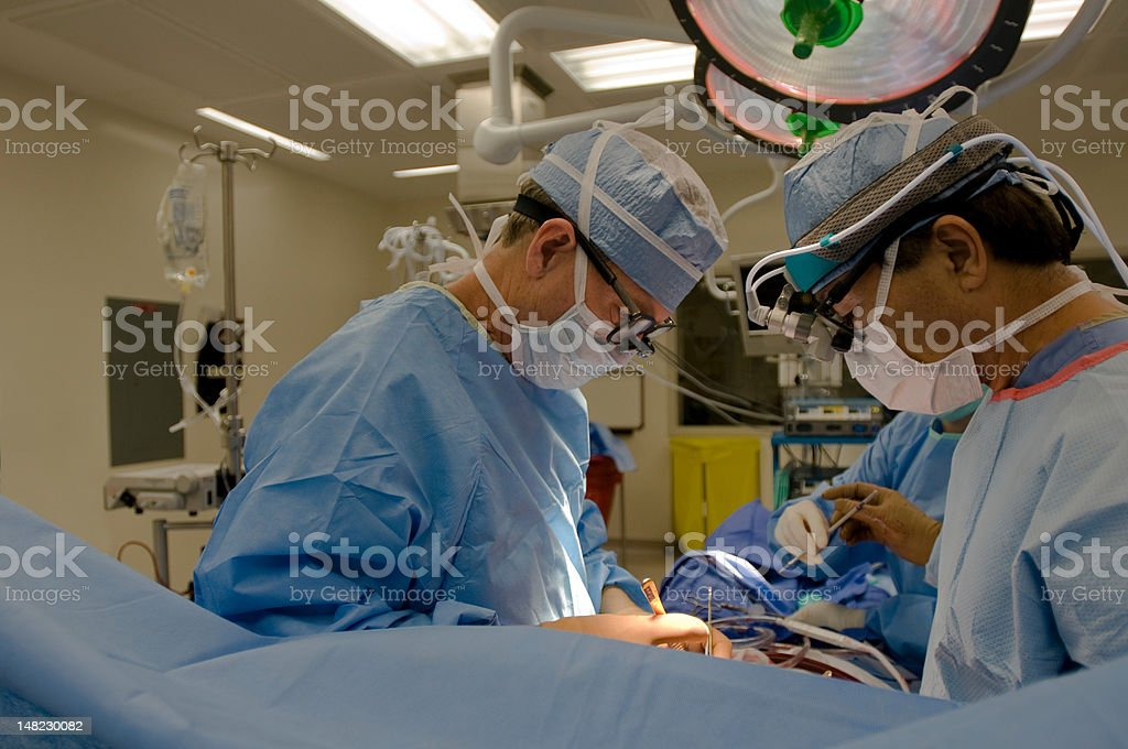 Open heart cardiac bypass surgery stock photo