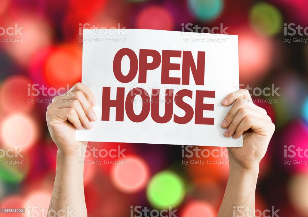 Open House card with bokeh background stock photo