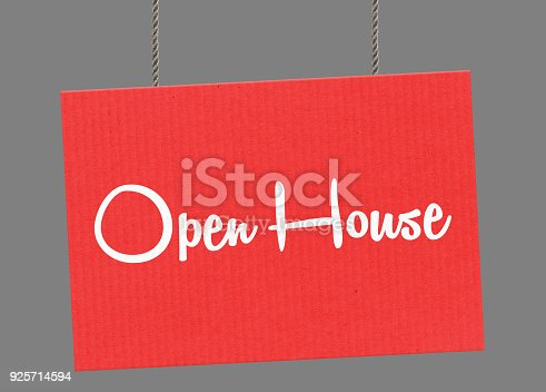 istock Open house sign hanging from ropes. Clipping path included so you can put your own background. 925714594