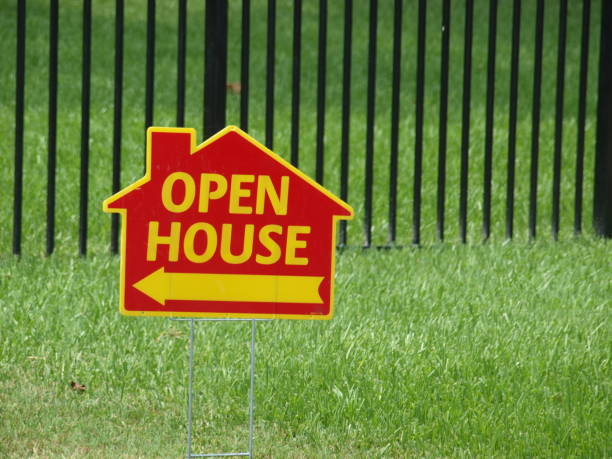 Open House Sign In The Shape of a House stock photo