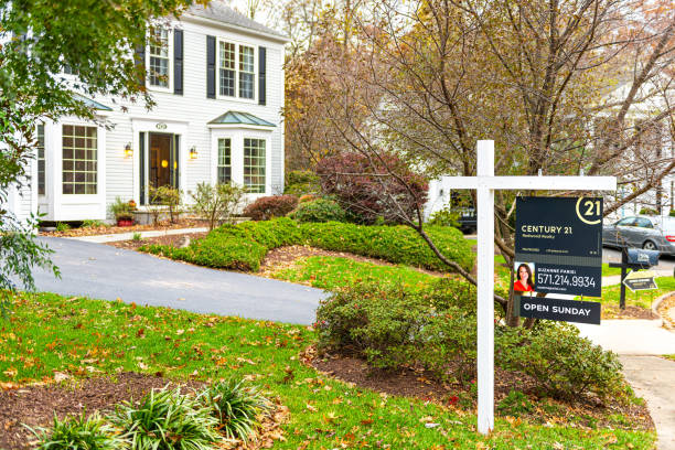 Open house sunday real estate sign street in Fairfax County, Virginia neighborhood Century 21 agent stock photo