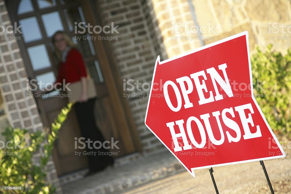 Open House With Woman Realtor royalty-free stock photo